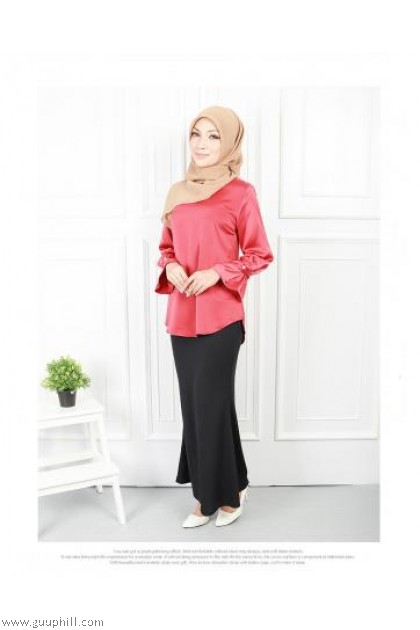 Button Cuff Sleeve Blouse Red