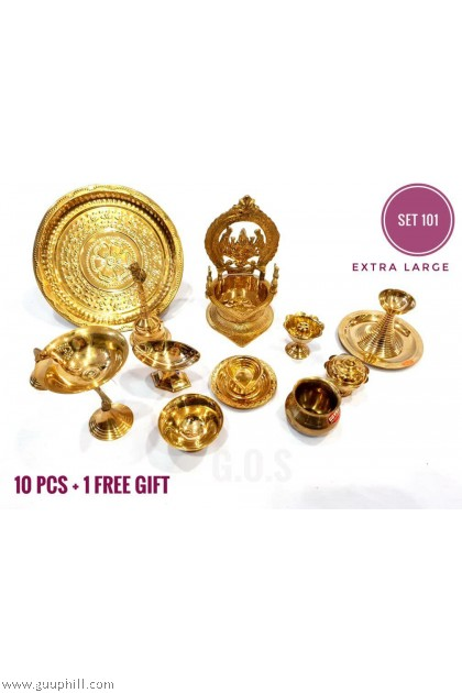 Brass Pooja Combo Set 101 Extra Large With Free Gift G101 Set