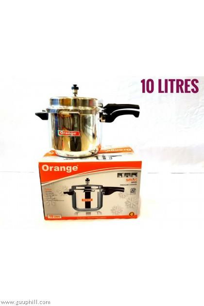 Orange Pressure Cooker Stainless Steel 10 Litre G14459