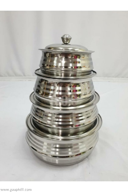 Stock Pot Food/ Curry Containers Silver Set G16169