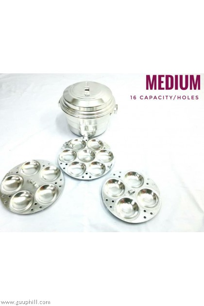 Winner Aluminium Silver Idly Pot Medium 16 Holes G16164