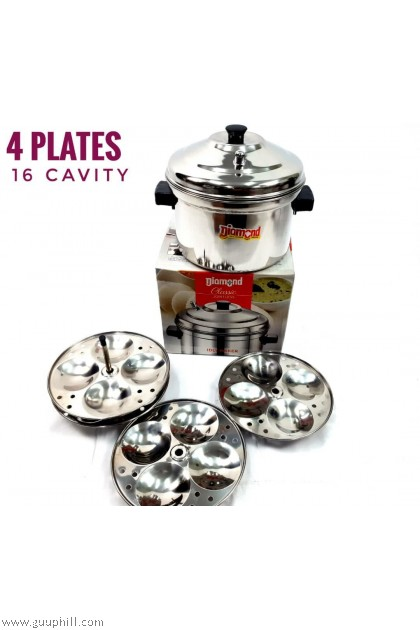 Diamond Idly Cooker Pot Stainless Steel Classic Jointless 16 Cavity G17115