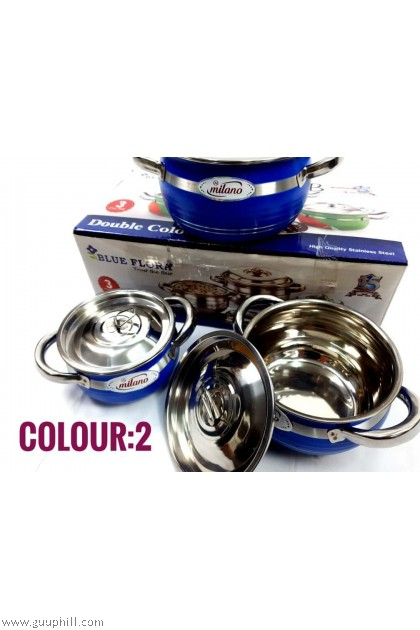 Blue Flora Dining Pot Food Containers Dish Silver Touch G17102