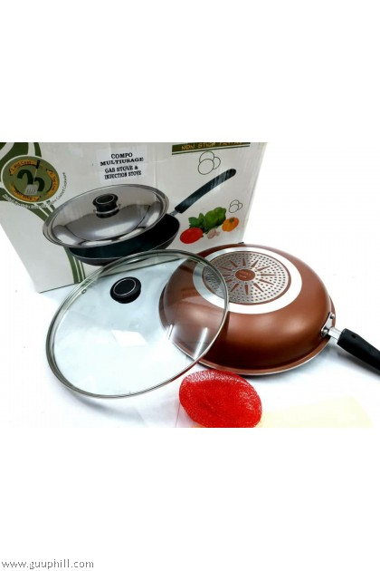 Ideal Premium Quality Non Stick Fry Pan With Glass Lid Multi Usage 29 cm G17202